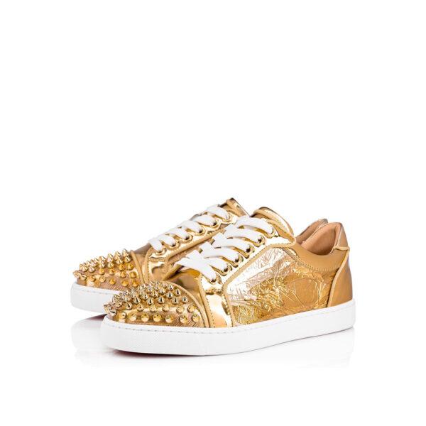 Christian Louboutin Vieira Spikes Orlato Ruban gold sneakers