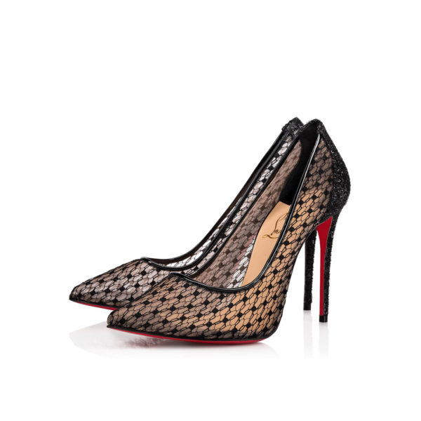 Christian Louboutin Follies Lace Dentelle black pumps