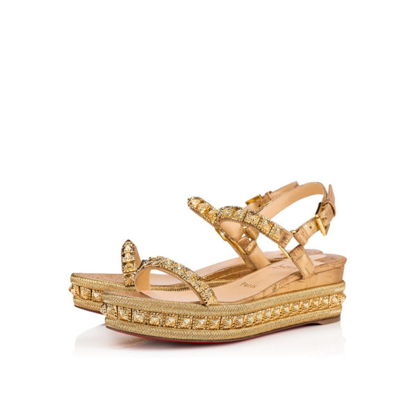 Christian Louboutin Pyradiams 60mm gold cork espadrilles