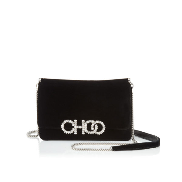 Jimmy Choo Sidney black velvet bag