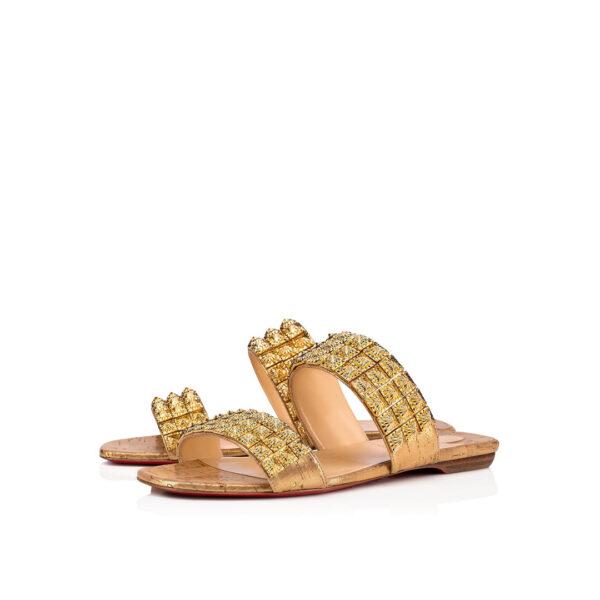 Christian Louboutin Myriadiam Flat gold cork sandals